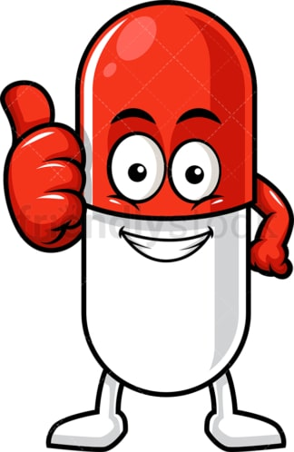 Capsule pill character thumbs up. PNG - JPG and vector EPS (infinitely scalable).