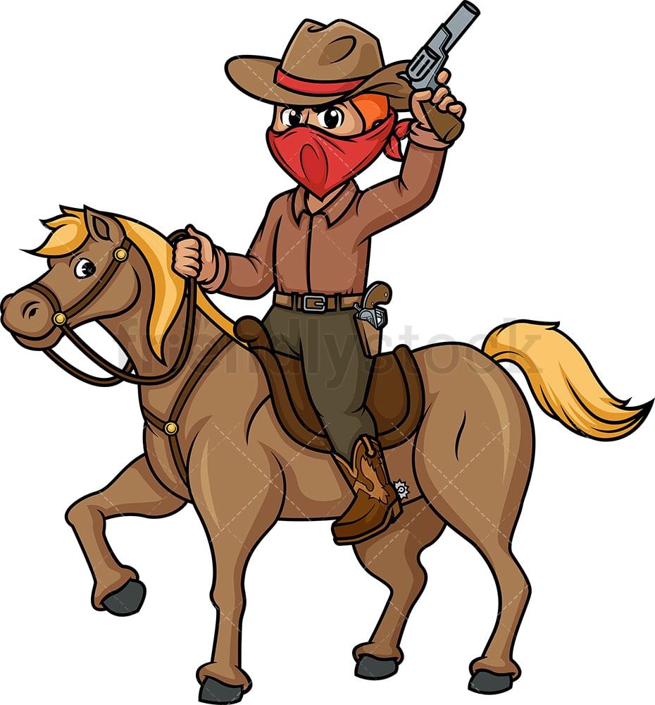 Cowboy Riding Horse Cartoon Clipart Vector Friendlystock