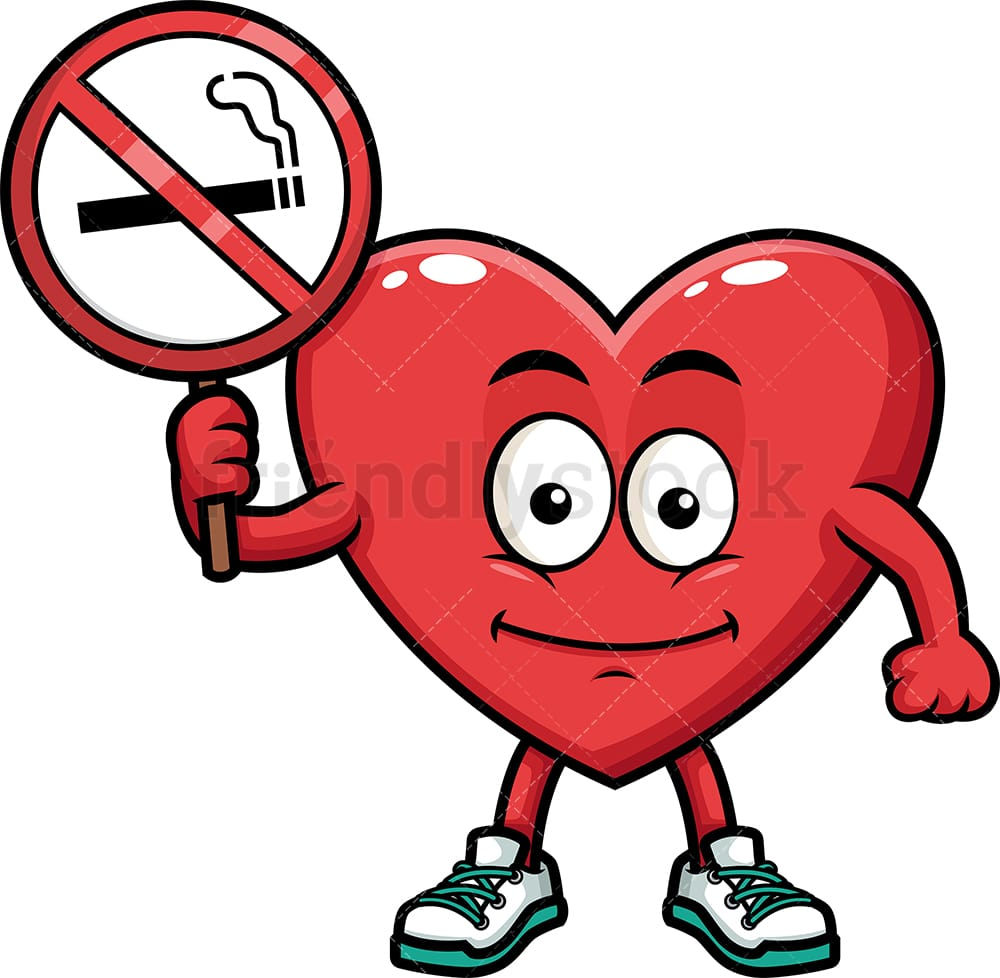 Heart Holding No Smoking Sign Cartoon Vector Clipart Friendlystock