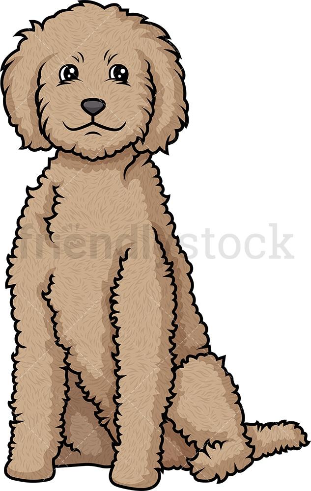 Obent Labradoodle Sitting Cartoon