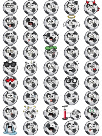 Soccer ball emoticons bundle. PNG - JPG and vector EPS file formats (infinitely scalable). Images isolated on transparent background.