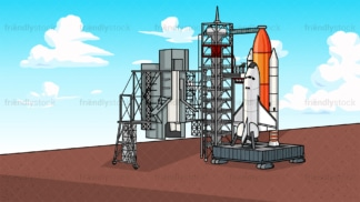 Space shuttle launch site background in 16:9 aspect ratio. PNG - JPG and vector EPS file formats (infinitely scalable).