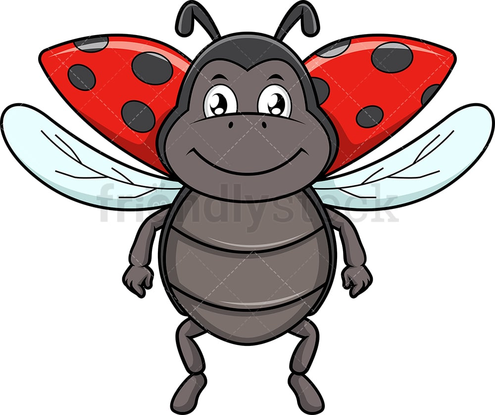 A Cartoon Ladybug flying ladybird beetle