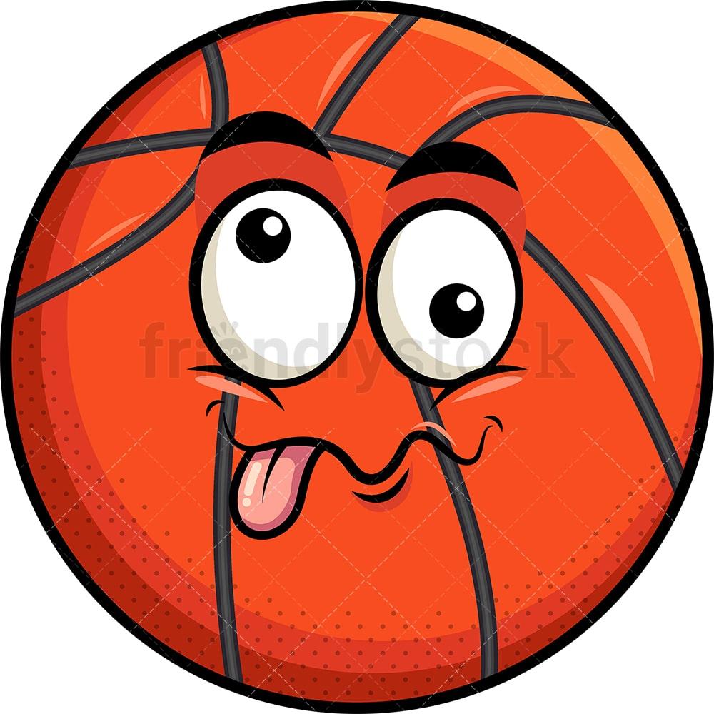 Goofy Crazy Eyes Basketball Emoji Cartoon Clipart Vector Friendlystock