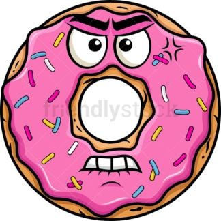 Angry donut emoticon. PNG - JPG and vector EPS file formats (infinitely scalable). Image isolated on transparent background.