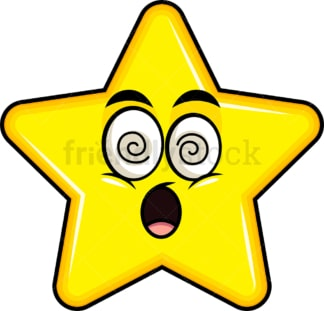 Stunned star emoticon. PNG - JPG and vector EPS file formats (infinitely scalable). Image isolated on transparent background.
