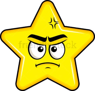 Annoyed star emoticon. PNG - JPG and vector EPS file formats (infinitely scalable). Image isolated on transparent background.