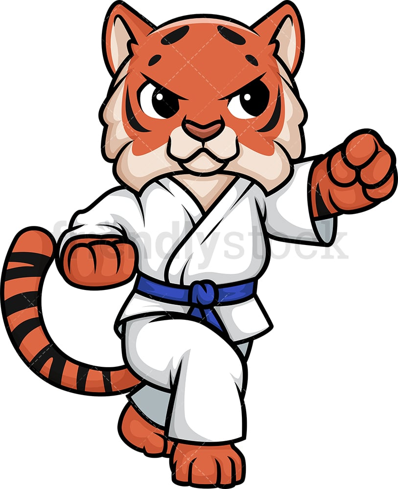 Tiger Doing Karate Cartoon Clipart Vector Friendlystock