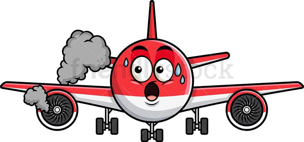 Airplane With Engine On Fire Emoji