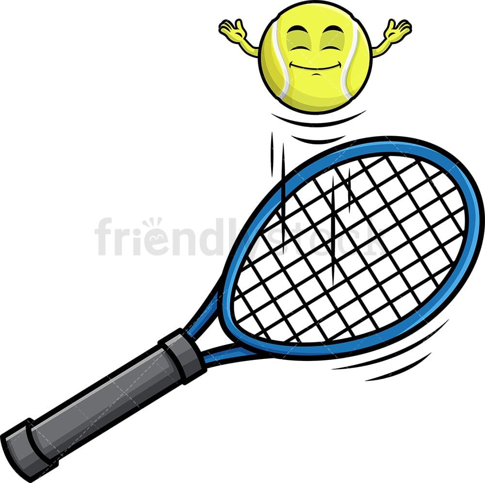 Tennis Ball Hopping On Racket Emoji Cartoon Clipart Vector Friendlystock
