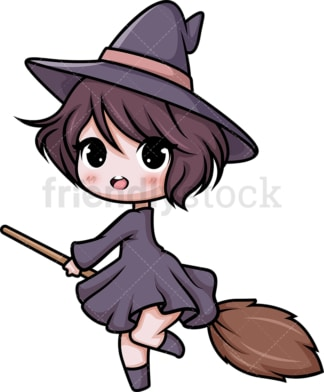 Chibi kawaii witch. PNG - JPG and vector EPS (infinitely scalable).
