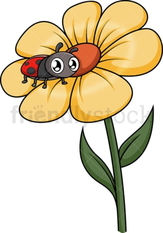 Baby ladybug on flower. PNG - JPG and vector EPS (infinitely scalable).