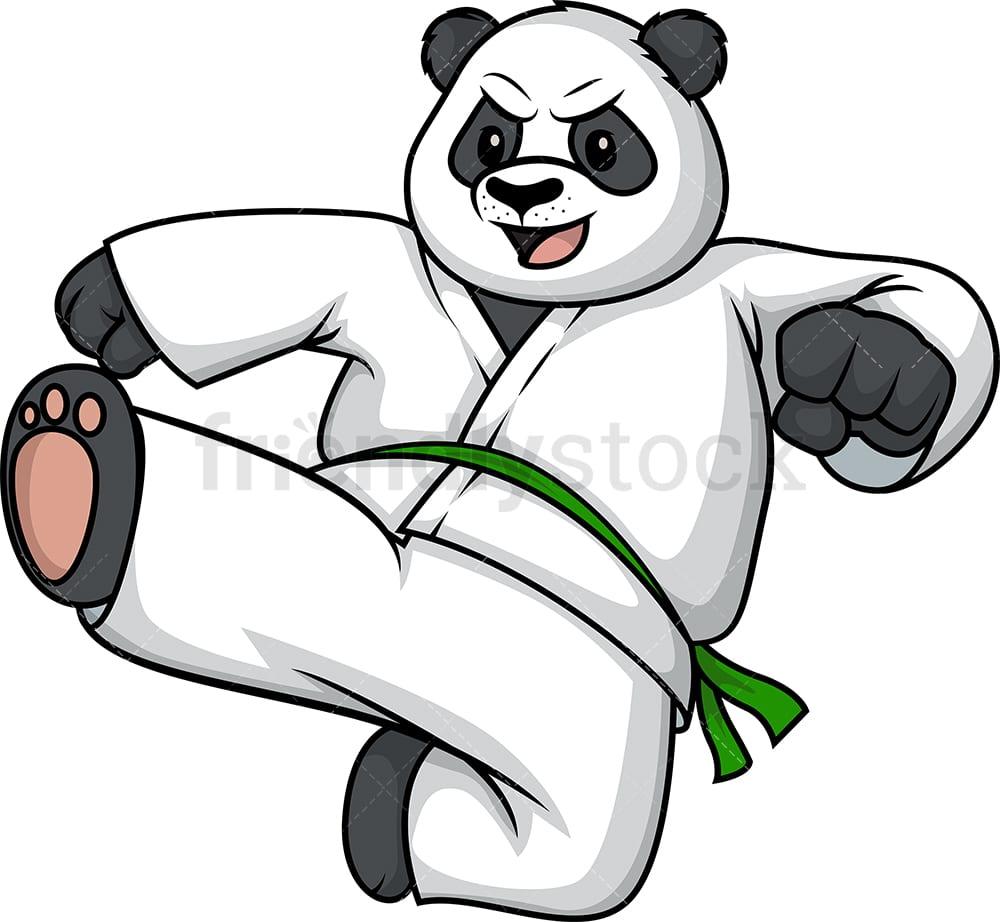 Bear Doing Karate Cartoon Clipart Vector Friendlystock