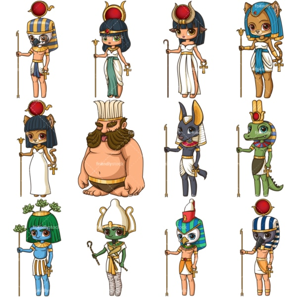 Ancient egyptians gods. PNG - JPG and vector EPS file formats (infinitely scalable). Images isolated on transparent background.
