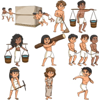 Ancient world slaves. PNG - JPG and infinitely scalable vector EPS - on white or transparent background.