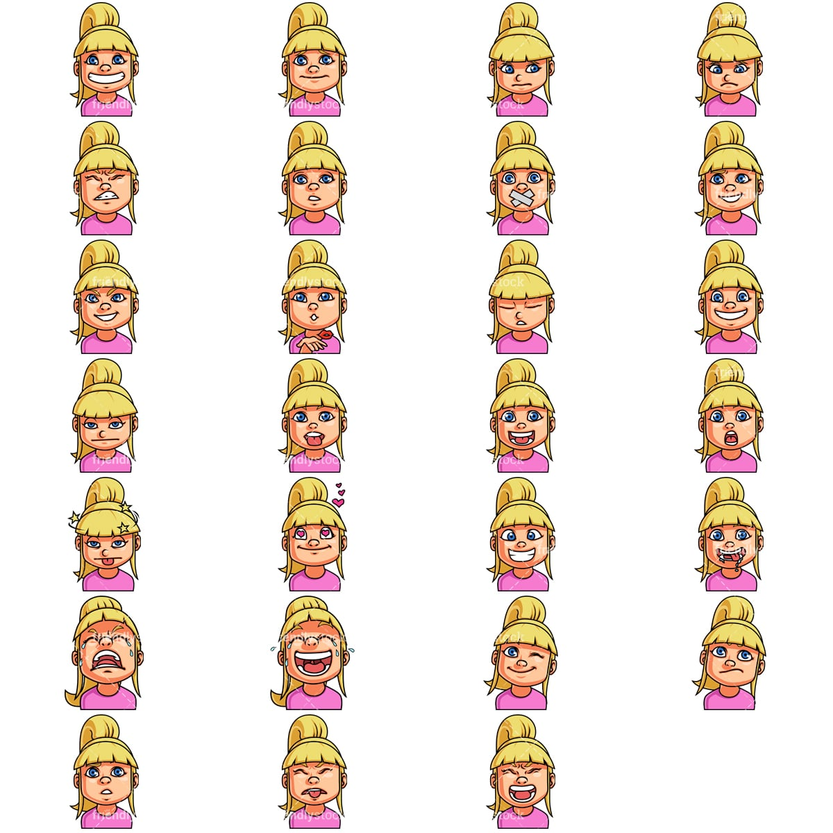Little Girl Emoji Faces Collection