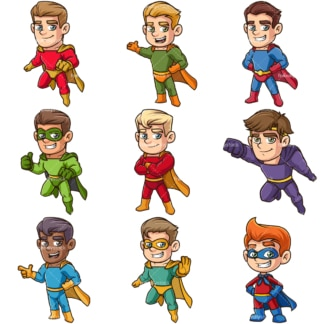 Male superheroes. PNG - JPG and infinitely scalable vector EPS - on white or transparent background.