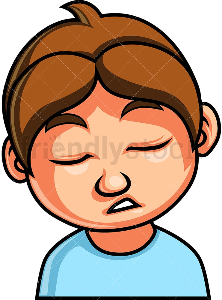 Little Boy Sleeping Face Cartoon Vector Clipart Friendlystock
