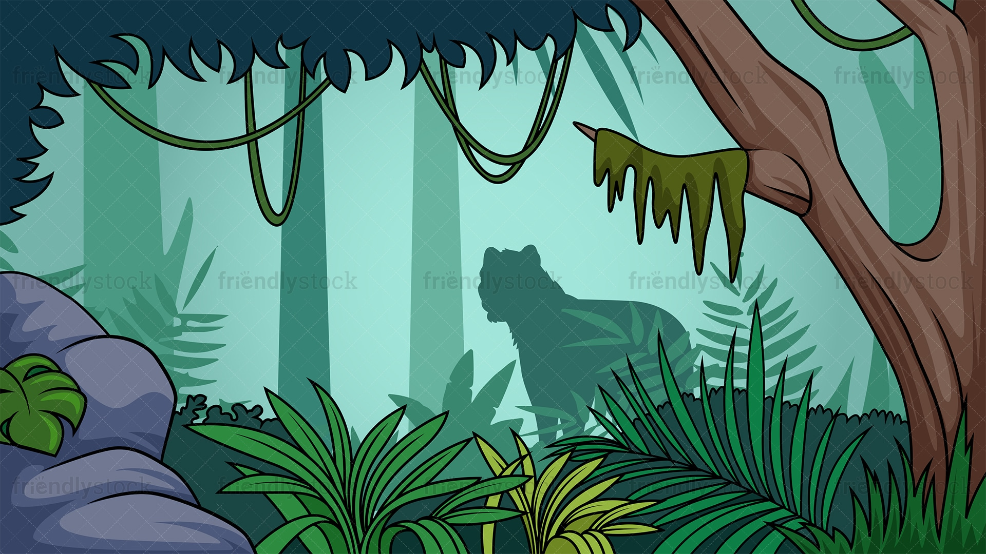 Rainforest Jungle Background Cartoon Vector Clipart Friendlystock