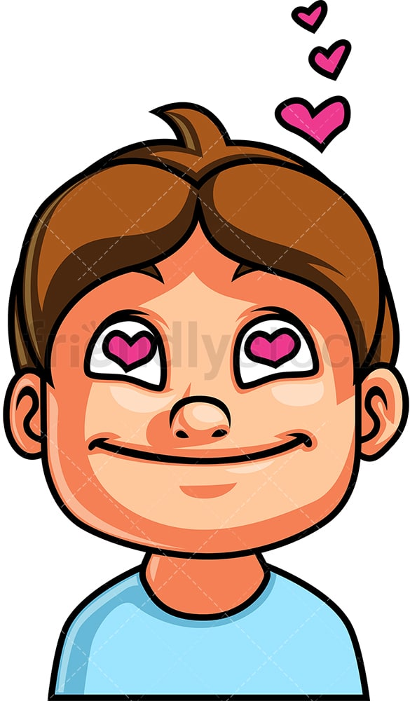 Little Boy In Love Face Cartoon Vector Clipart Friendlystock