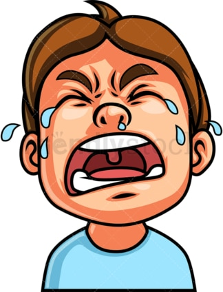Little boy crying out loud face. PNG - JPG and vector EPS file formats (infinitely scalable). Image isolated on transparent background.