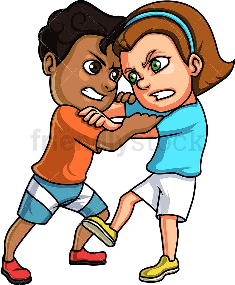 Boy And Girl Fight Cartoon Clipart Vector Friendlystock