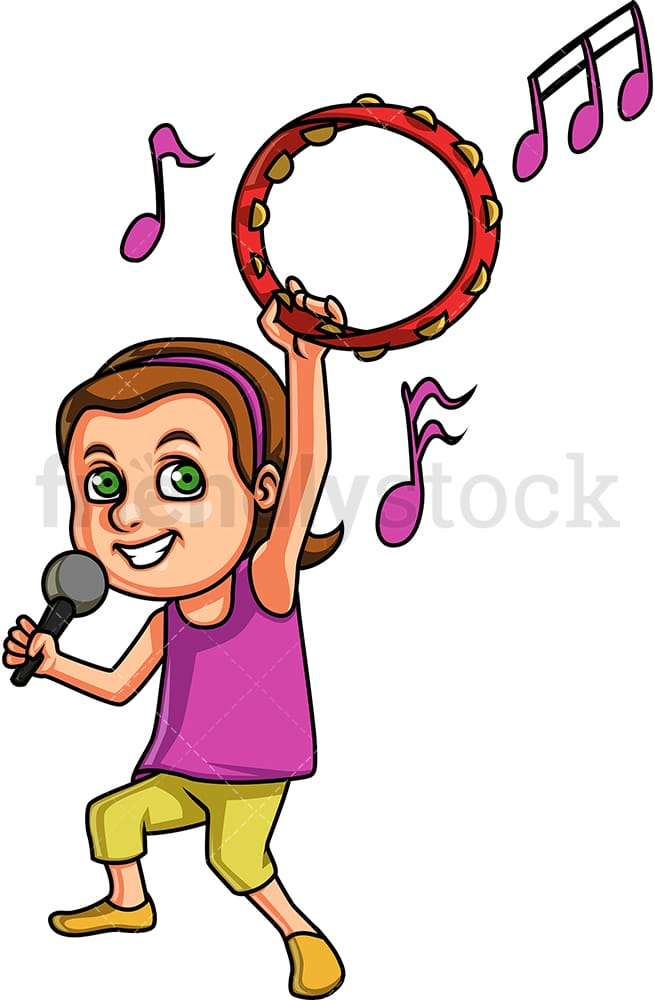 Little Girl Singing While Holding A Tambourine