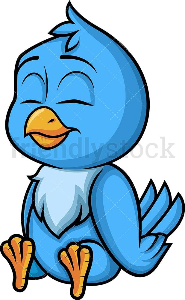 Blue Bird Sitting Cartoon Vector Clipart Friendlystock