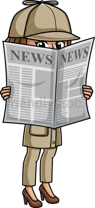 Female detective hiding behind newspaper. PNG - JPG and vector EPS (infinitely scalable).