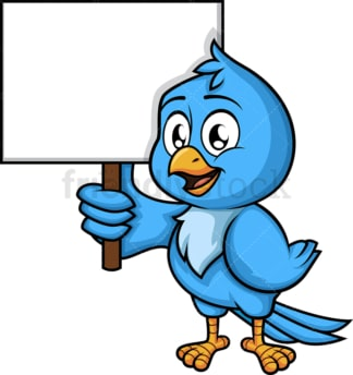 Blue bird holding blank sign. PNG - JPG and vector EPS (infinitely scalable). Image isolated on transparent background.