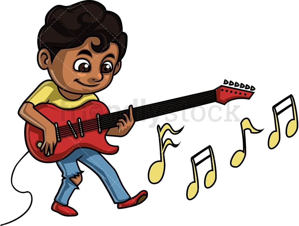 Boy Playing Electric Guitar Cartoon Clipart Vector Friendlystock