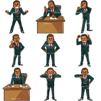 Angry black businessman. PNG - JPG and vector EPS file formats (infinitely scalable). Images isolated on transparent background.