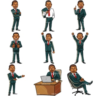 Black businessman bundle. PNG - JPG and vector EPS file formats (infinitely scalable). Images isolated on transparent background.