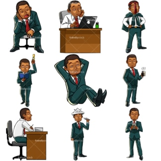 Bored black businessman. PNG - JPG and vector EPS file formats (infinitely scalable). Images isolated on transparent background.
