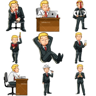 Bored caucasian businessman. PNG - JPG and vector EPS file formats (infinitely scalable). Images isolated on transparent background.