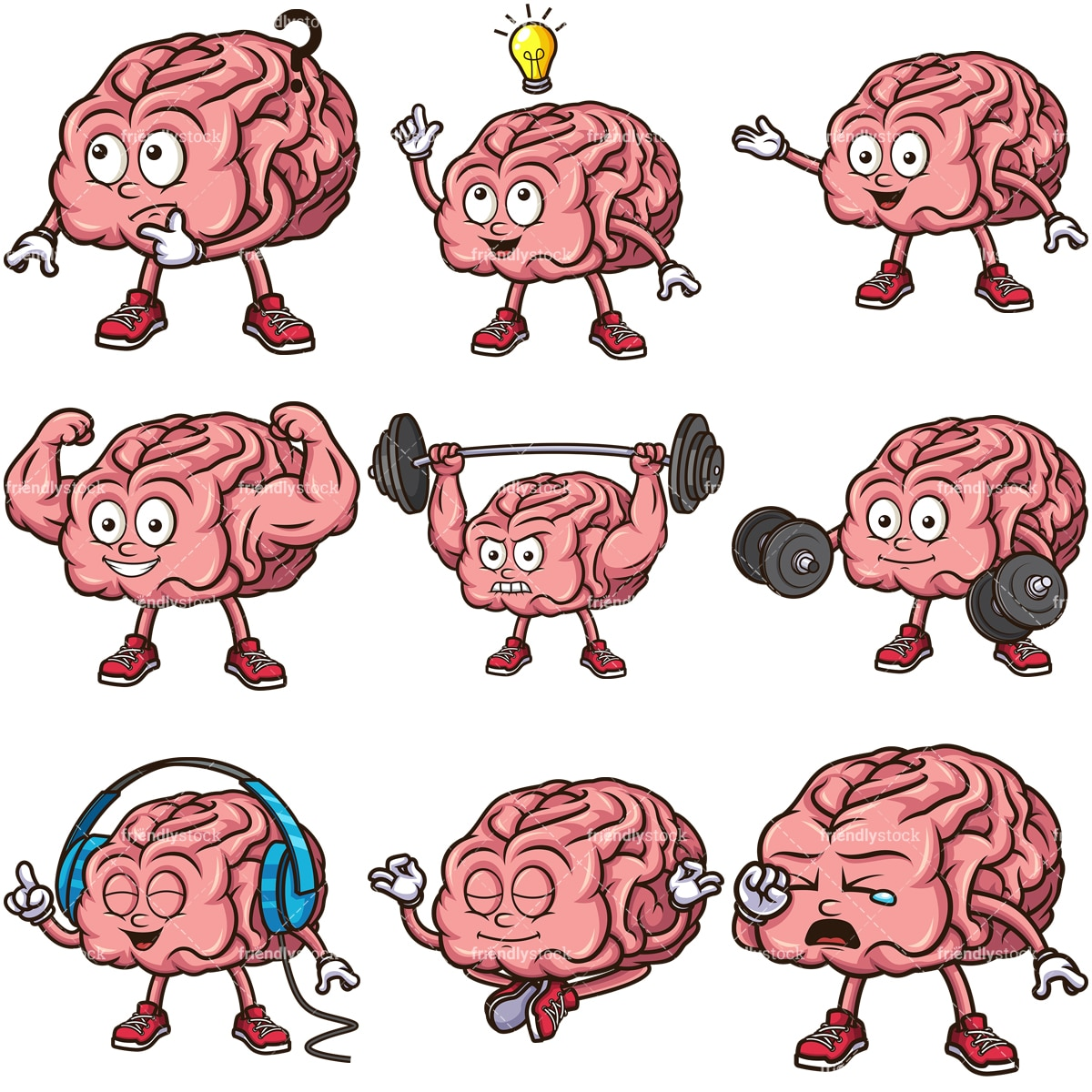 Cute Brain Cartoon Character Vector Clipart - FriendlyStock