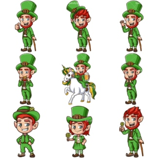 Cute leprechauns. PNG - JPG and infinitely scalable vector EPS - on white or transparent background.