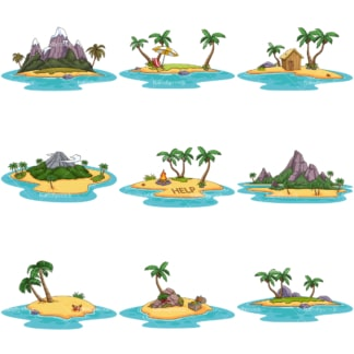 Desert islands. PNG - JPG and infinitely scalable vector EPS - on white or transparent background.