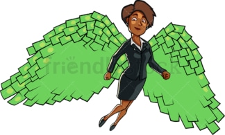 Black business woman with dollar wings. PNG - JPG and vector EPS file formats (infinitely scalable). Image isolated on transparent background.