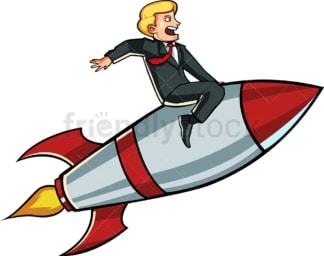 Businessman on a rocket. PNG - JPG and vector EPS file formats (infinitely scalable). Image isolated on transparent background.