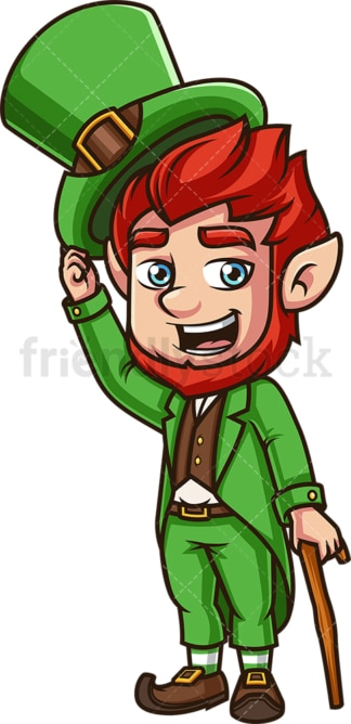 Leprechaun taking off his hat. PNG - JPG and vector EPS (infinitely scalable).