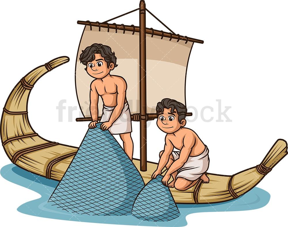 Ancient World Fishermen Fishing Cartoon Vector Clipart Friendlystock