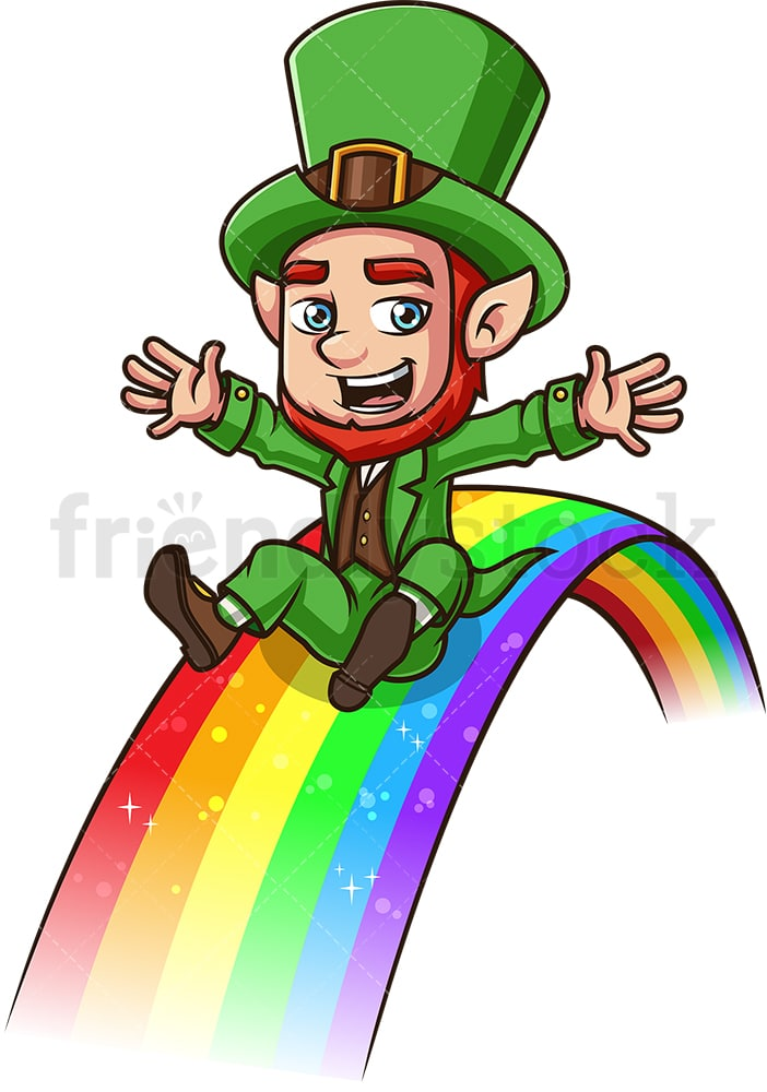 Leprechaun On A Rainbow Cartoon Vector Clipart Friendlystock