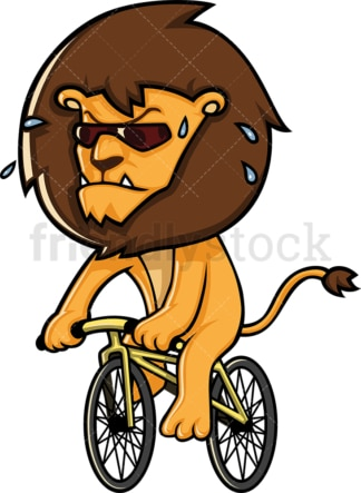 Lion riding a bicycle. PNG - JPG and vector EPS (infinitely scalable).