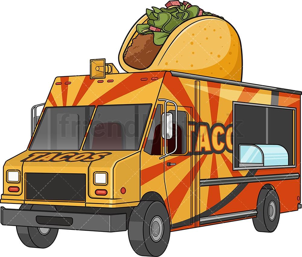 Mexican Taco Food Track Cartoon Vector Clipart Friendlystock