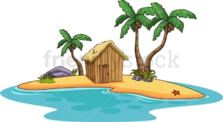 Tropical island with wooden hut. PNG - JPG and vector EPS (infinitely scalable).