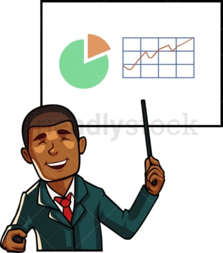 Black business man giving a presentation. PNG - JPG and vector EPS file formats (infinitely scalable). Image isolated on transparent background.