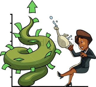 Black businesswoman watering money tree. PNG - JPG and vector EPS file formats (infinitely scalable). Image isolated on transparent background.