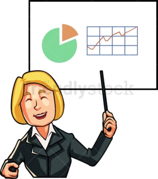 Businesswoman giving presentation. PNG - JPG and vector EPS file formats (infinitely scalable). Image isolated on transparent background.