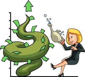 Businesswoman watering money tree. PNG - JPG and vector EPS file formats (infinitely scalable). Image isolated on transparent background.